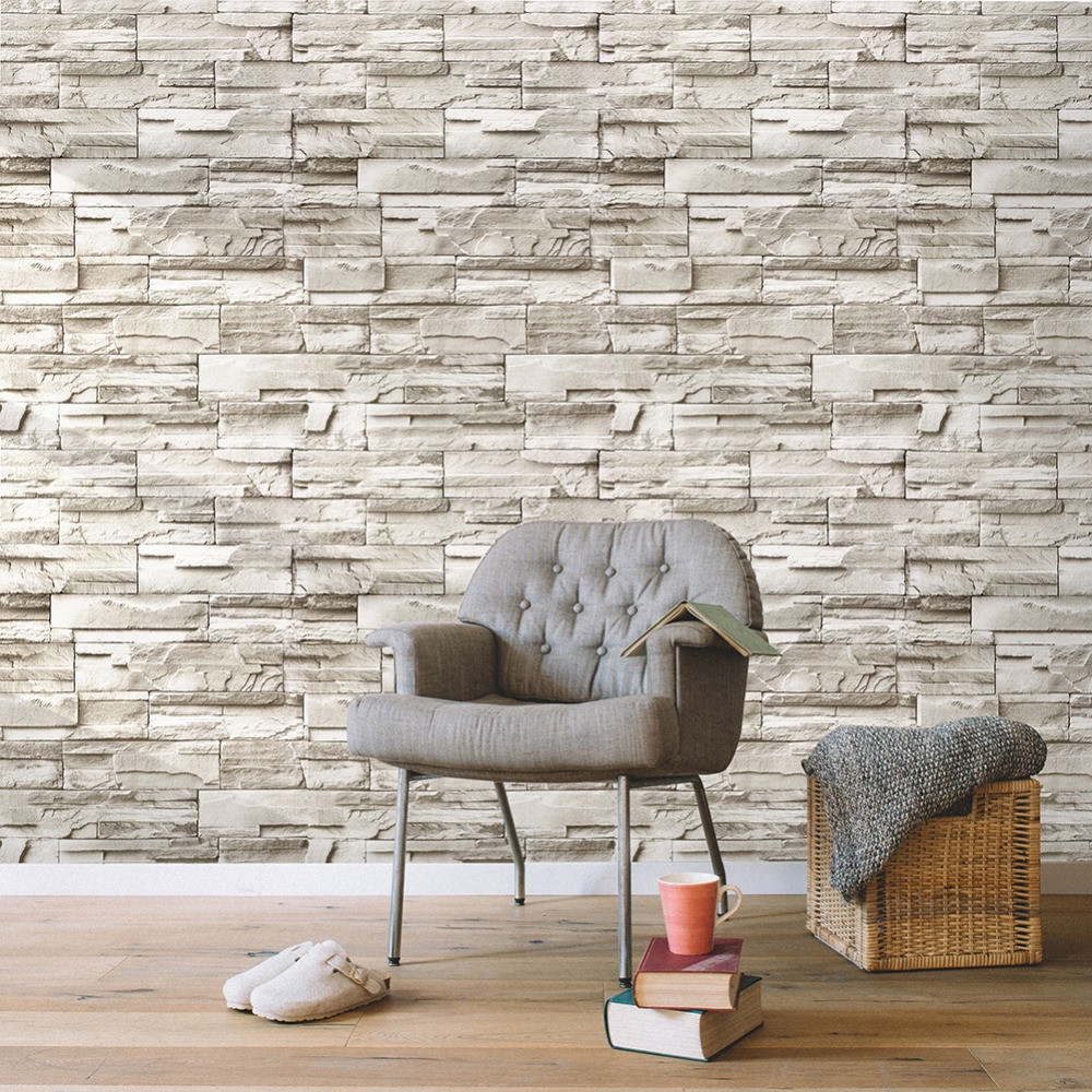Us 29 9 Haokhome Vintage Peel Stick Faux Brick Wallpaper For Walls 3d Self Adhesive Sticker Green Living Room Bedroom Home Decoration In Wallpapers