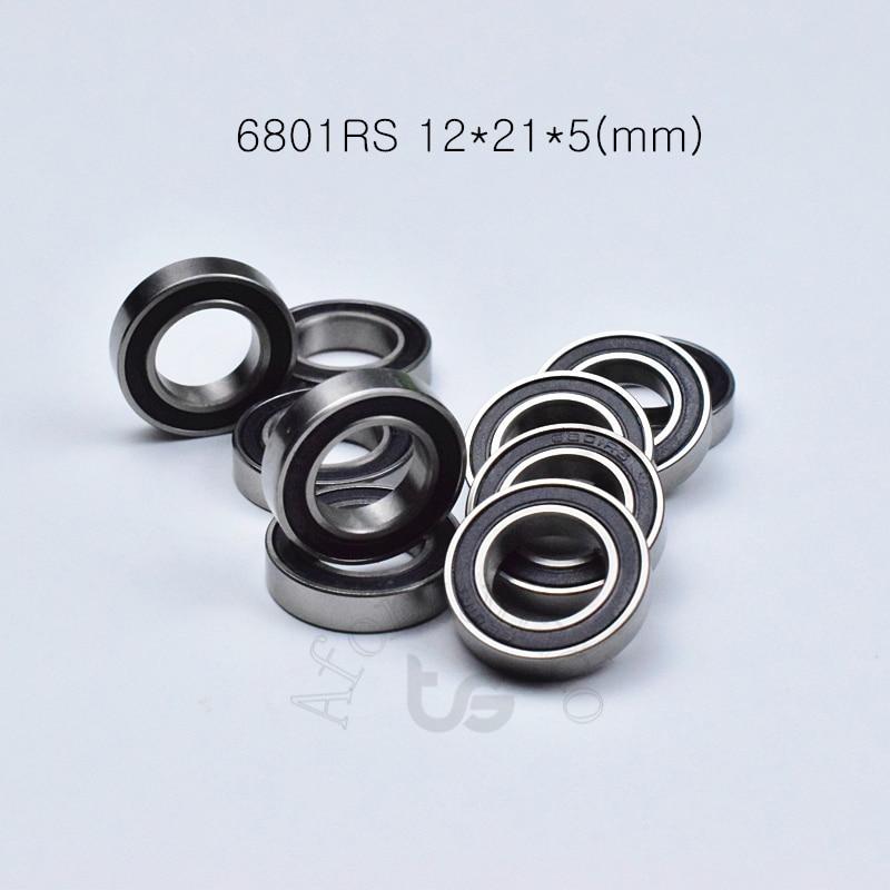 6801RS 12*21*5(mm) 10piece bearing ABEC-5 6801 6801RS chrome steel bearing Rubber sealed bearing Thi