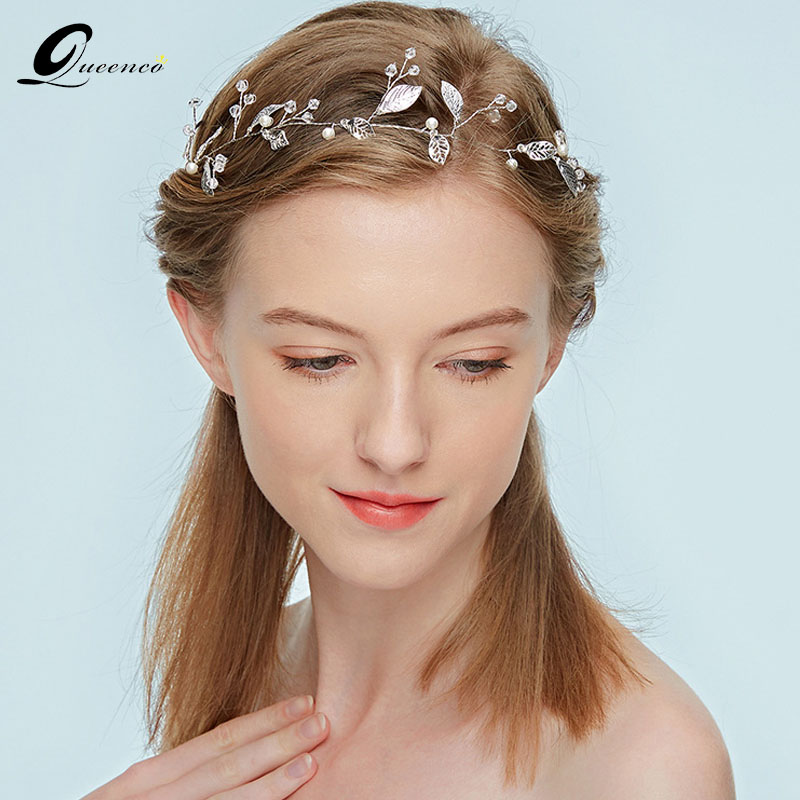 Wedding Hairstyles With Jewels: Fashion Girl's Headbands Silver Leaf Wedding Hair Jewelry
