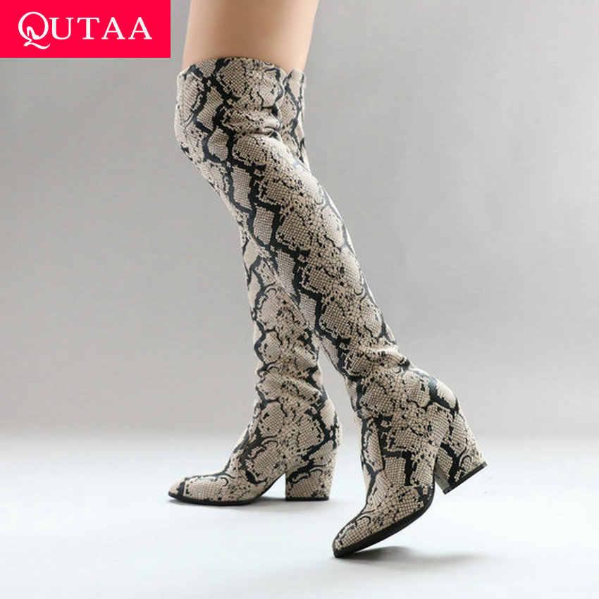 QUTAA 2020 Streç PU Deri Moda Serpantin Diz Çizmeler Üzerinde kayma Sivri Burun Kare Topuk Kadın Uzun Çizmeler boyutu 34-43