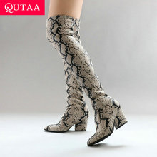 Square Heel Long-Boots Stretch Pointed-Toe Women Fashion Size-34-43 Slip-On QUTAA PU