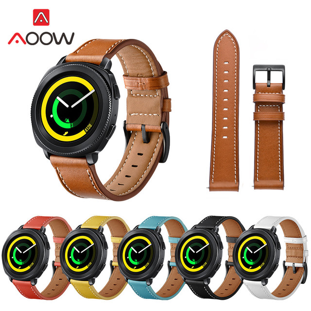 20mm Genuine Leather Watchband for Samsung Gear Sport S4 S2 Classic R732 Amazfit