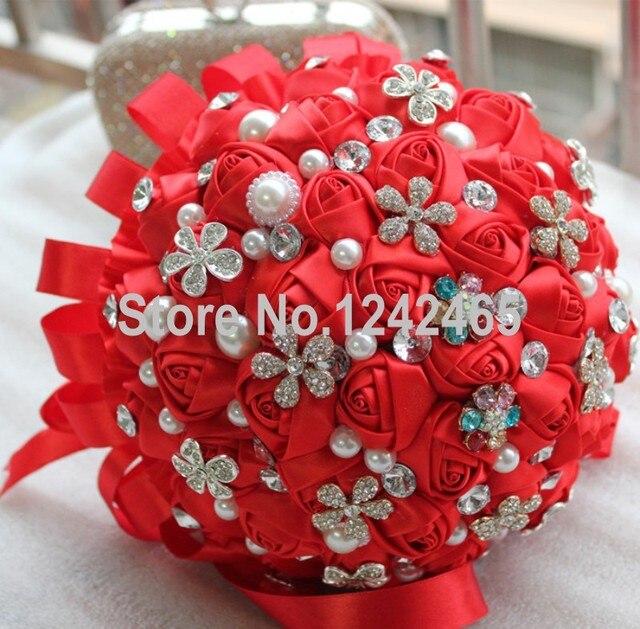 2015 Высокое качество рука очаровательная свадебный букет красная лента перл пойнт ювелирных изделий с бриллиантами выросли букет невесты с цветами в руках SH09