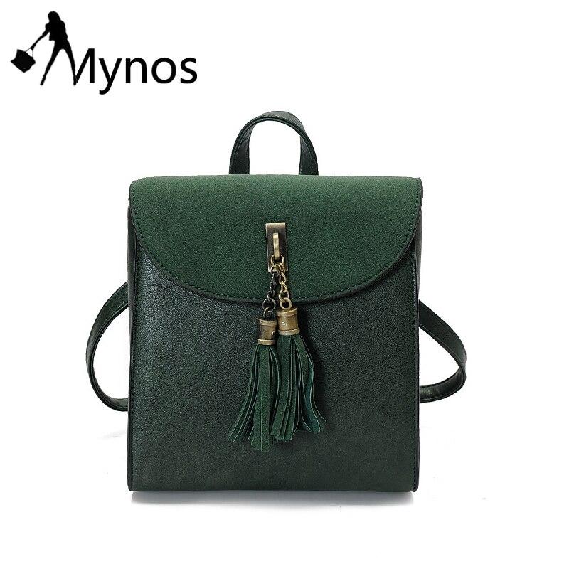 Mynos Suede Leather Women Tassel Backpacks Crossbody bag for Women School Bag forTeenager Rucksack Purse Women