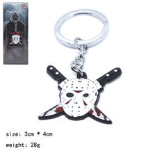 Chaveiro de metal Chaveiro liga de zinco Jason Friday the 13th Jason Voorhees colar presente backpack Pingente Traje do miúdo(China)