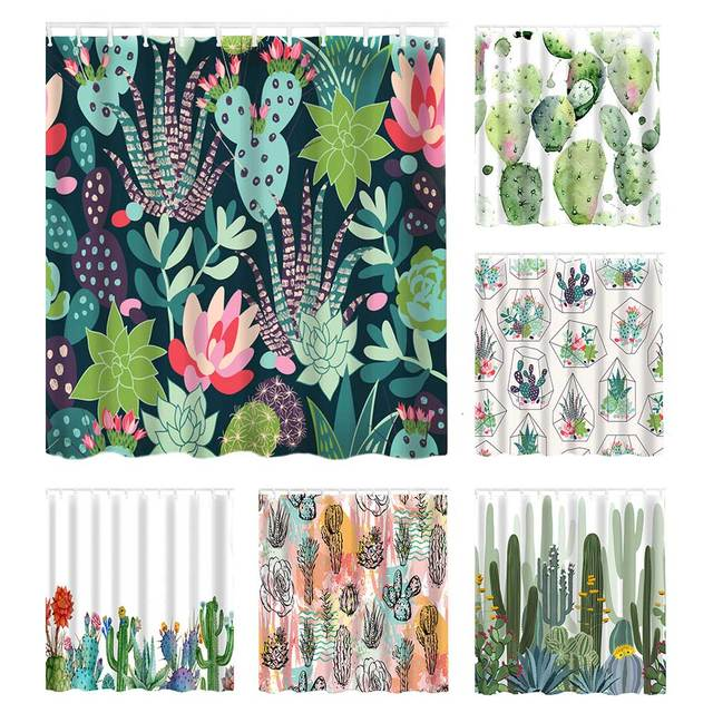 Waterproof Shower Curtain For Bathroom Tropical Plants and Cactus Print