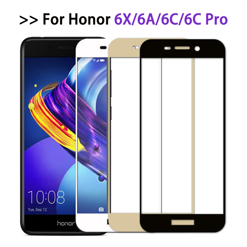 Protective Glass On For Huawei Honor 6c pro case Full Cover Screen Protector For Honor 6x 6a Tempered Glass Film honor6 6 a c x-in Phone Screen Protectors from Cellphones & Telecommunications