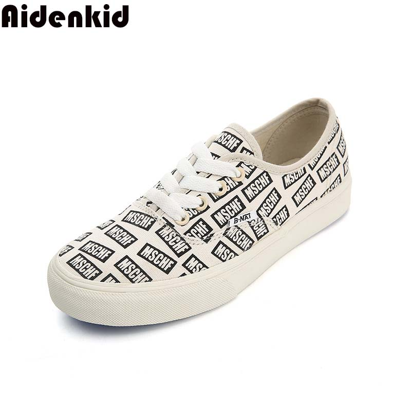 2019 spring new canvas shoes female Korean version of the wild student casual board shoes trend with letters women 39 s shoes in Women 39 s Vulcanize Shoes from Shoes