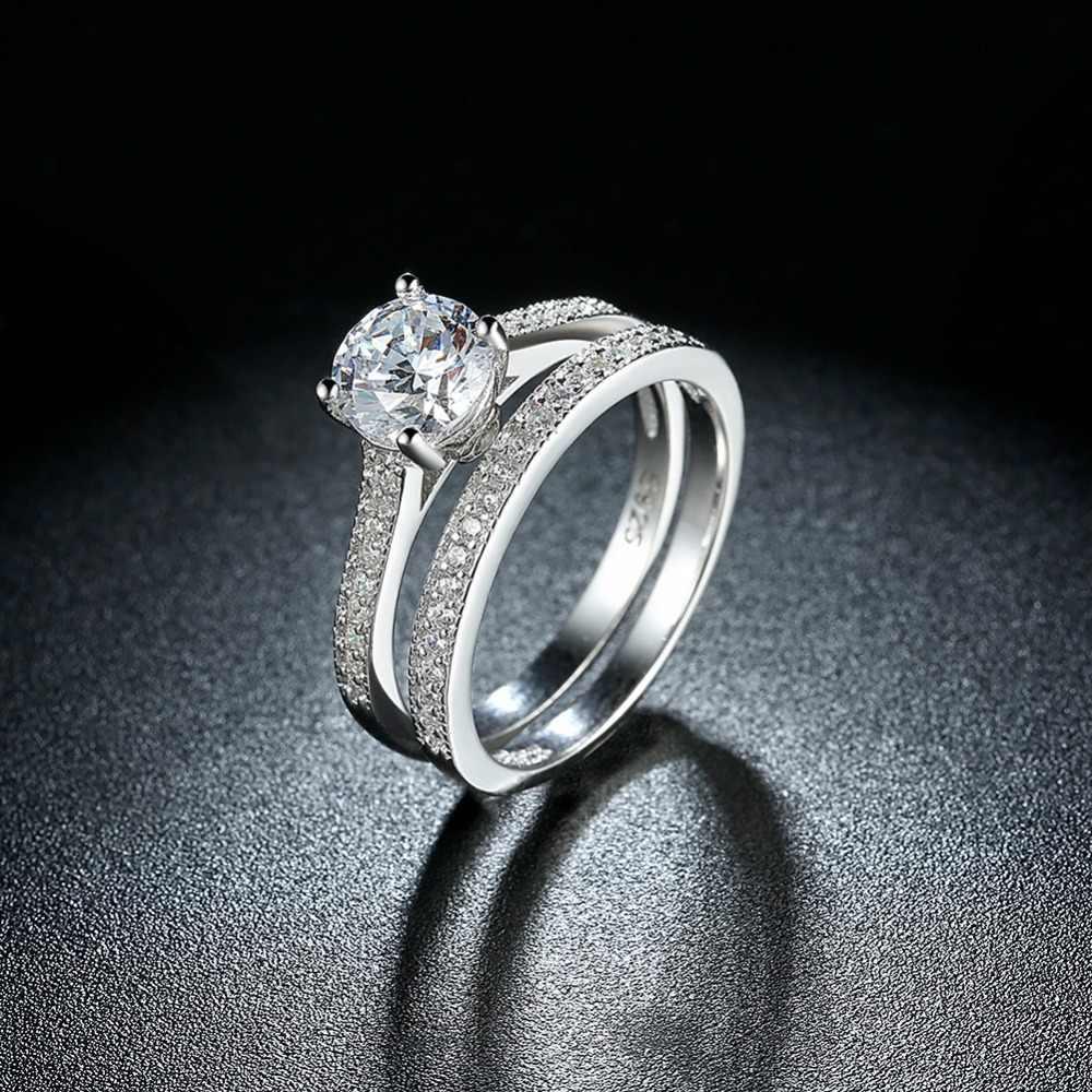 Clássico 100% real puro 925 anel de prata esterlina, s925 festa/noivado/anéis de casamento para mulher, par de 925 anéis de prata