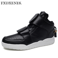 FXDXENEK Brand Men Casual Shoes 2017 New Autumn Winter Hook Loop Flat Shoes Men Leather Fashion