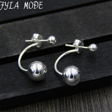 Fyla Mode 8mm Round Ball Stud Earring for Women S925 Pure Silver Bead Earring Unisex High Quality Fashion Jewelry TYC213