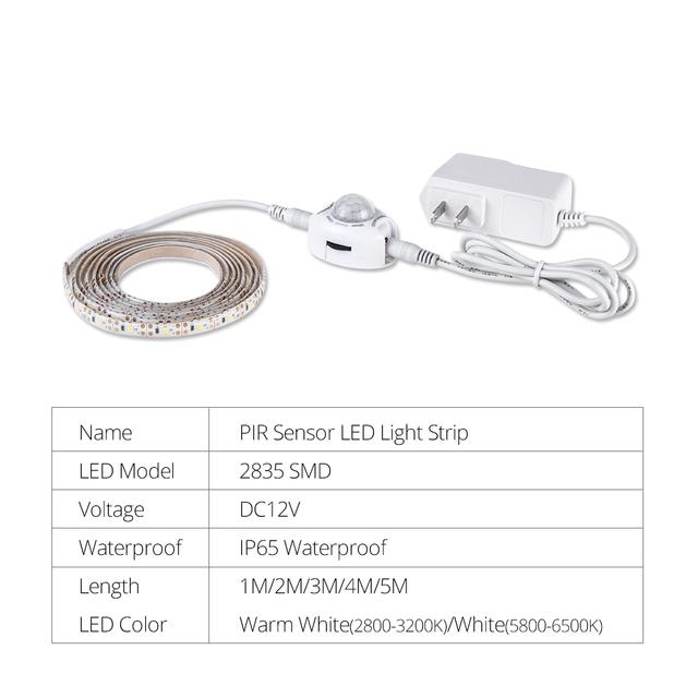 PIR Motion Sensor LED Under Cabinet Lamp With 12V Power Adapter SMD 2835 60 LEDs/m 1m 2m 3m 4m 5m Smart OFF/ON Night Light