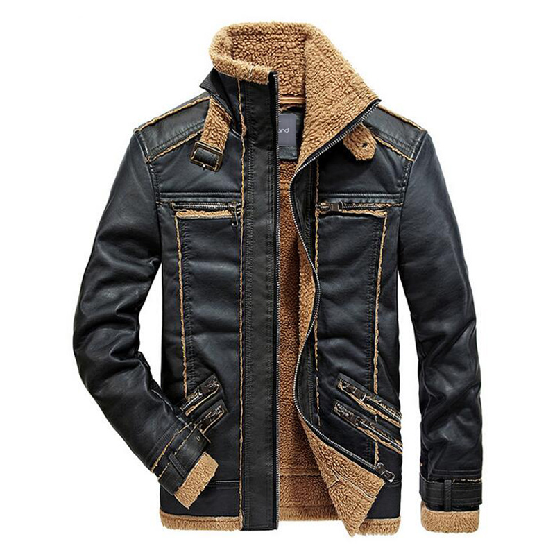 9e9ad45ea US $40.66 39% OFF|HEE GRAND Men Stylish Pu Coat 2017 New Arrival Motor  Style Stand Collar Thick Warm Padded Spliced Design Coat MWP463-in Faux  Leather ...