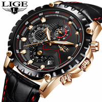LIGE Mens Watches Top Brand Luxury Casual Leather Gold Quartz Watch Men Military Waterproof Sport Wrist
