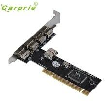 CARPRIE USB 2.0 4 Port 480Mbps High Speed VIA HUB PCI Controller Card Adapter Jan16 MotherLander