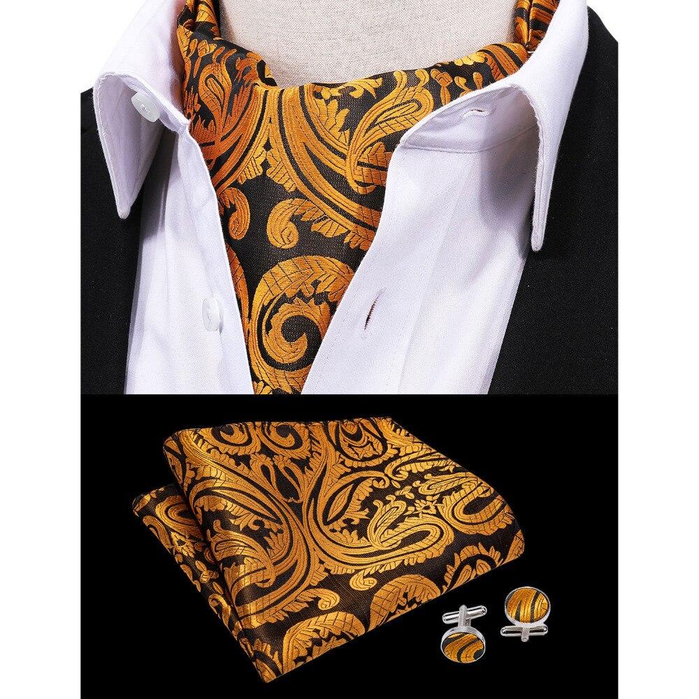 Barry.Wang Fashion British Flora Paisley Handkerchief Cravat Ascot Set 100%Silk Fashion Brand Men Ties For Wedding Party LF-0003
