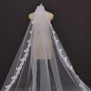 Image 4 - Echt Fotos 4 Meter Lange Volle Rand Spitze Hochzeit Schleier Eine Schicht Weiß Elfenbein Tüll Braut Schleier mit Kamm Veu de Noiva Longo