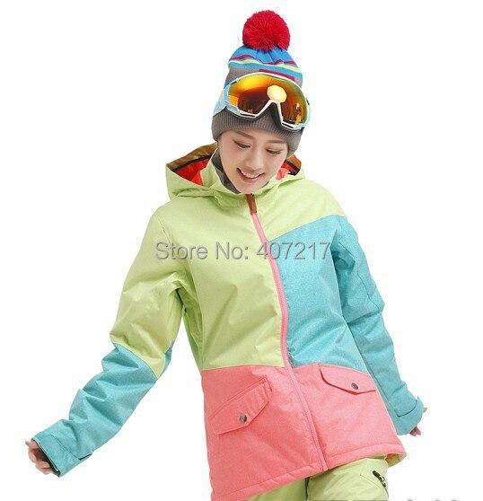 2014 new womens color matching ski jacket green blue pink snowboard jackets ladies skiing jacket anorak skiwear waterproof 10K 2016 womens color matching ski jacket blue pink gray snowboarding jackets skiing jacket for women anorak skiwear 10k xs l