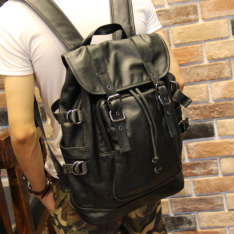 051018 new hot man fashion leather travel backpack student school bag 3