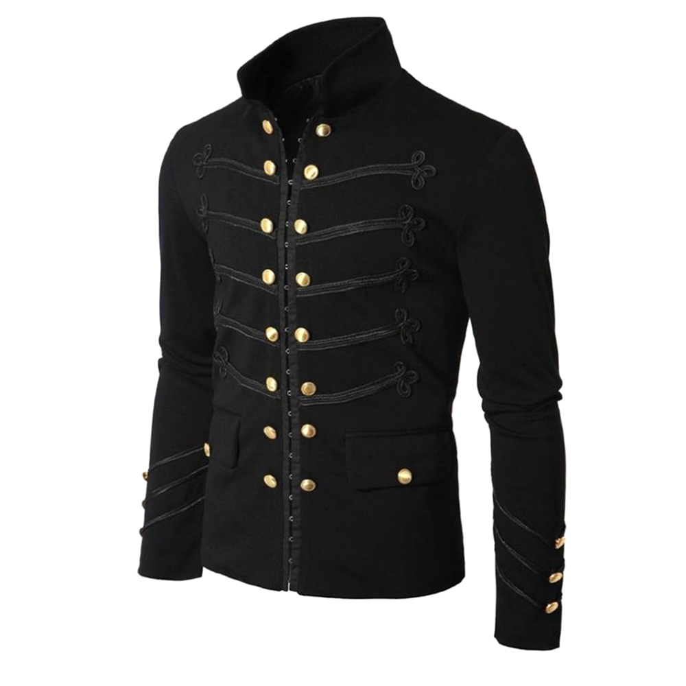 Men Gothic Steampunk Jacket Stand Collar Rock Frock Coat Uniform Men's Retro Punk Slim Fit Costume Military Jackets Outwear