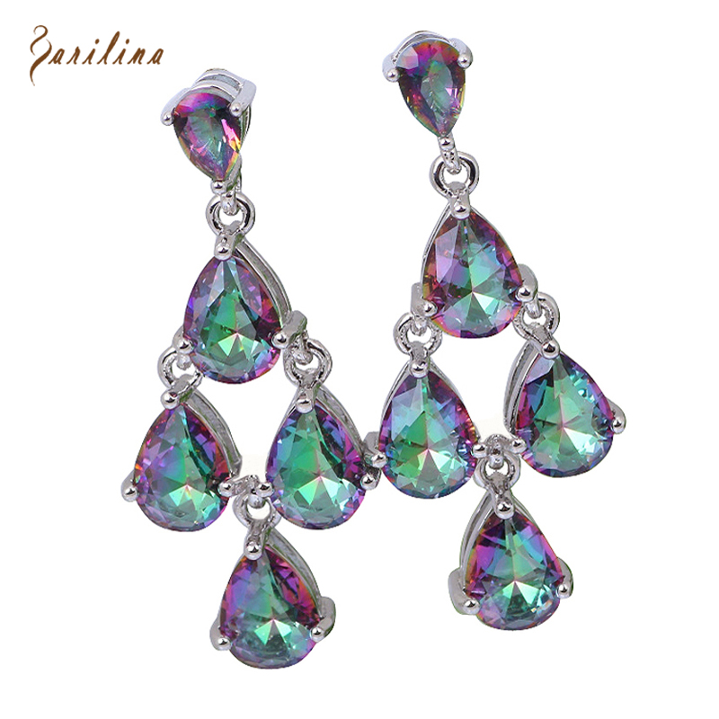 Distinctive Brand designer Hot Pink Rainbow Mystic Cubic Zirconia silver jewelry dangle earrings fashion jewelry E207