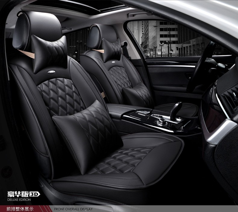 For Hyundai Accent Sonata Elantra Xi25 Ix35 Tucson Black Car Soft Leather Seat Cover Front Rear Complete Set Covers In Automobiles