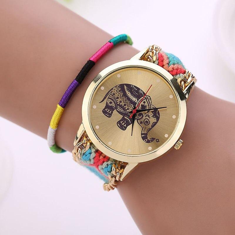 f93eccf353b4 Aliexpress.com  Comprar 2019 niñas tejida a mano de pulsera reloj mujer  elefante Dial reloj de cuarzo reloj de pulsera dama mejor reloj de regalo  venta al ...