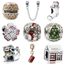 Btuamb Luxurious Crystal Car House Flower Owl Santa Sock Beads Fit Pandora Charm Bracelets Women Girl Christmas Gift DIY Colares(China)