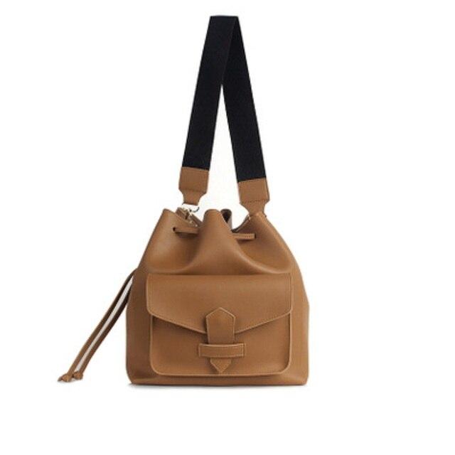 Tinton Woman Bag 2018 Drawstring Tote Webbing Strap Shoulder Solider Color Women Messenger Bags