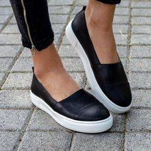 Monerffi 2019 Women Leather Sneakers Shoes Woman New Summer Loafers Shoes Genuine Thick Sole Fashion Shoes(China)