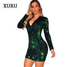 XURU 2019 spring new sequin dress sexy nightclub fashion slim sequin dress club party dress все цены