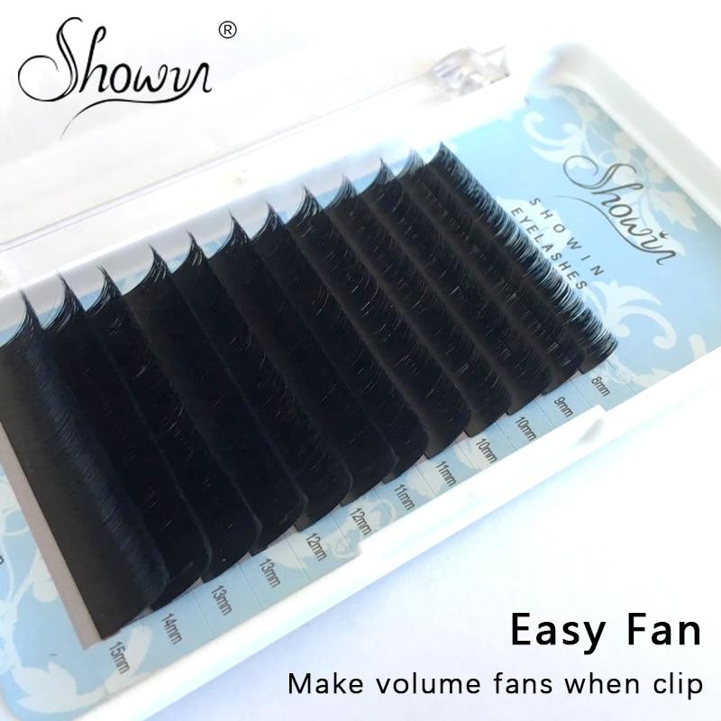 Easy Fast Self-Making Fans Eyelash Extension Bloom Automatic Lashes Volume Individual False Faux Eyelashes