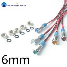 6 мм светодиодный металлический индикатор светильник 6 мм Водонепроницаемая сигнальная лампа 3 в 5 в 6 в 12 В 24 В 220 В с проводом красный, желтый, синий, зеленый, белый