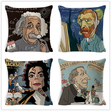 Watercolor Van Gogh Finch Oinstein Bruce Lee Cushion Cover Home Decorative Pillow Case Office Car Sofa Decor House Textile