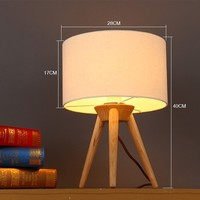Nordic Fabric Lampshade Table Lamps Home Deco Wooden Tripod Table Light for Bedroom Living Room Bedside Lamp Study Desk Lights