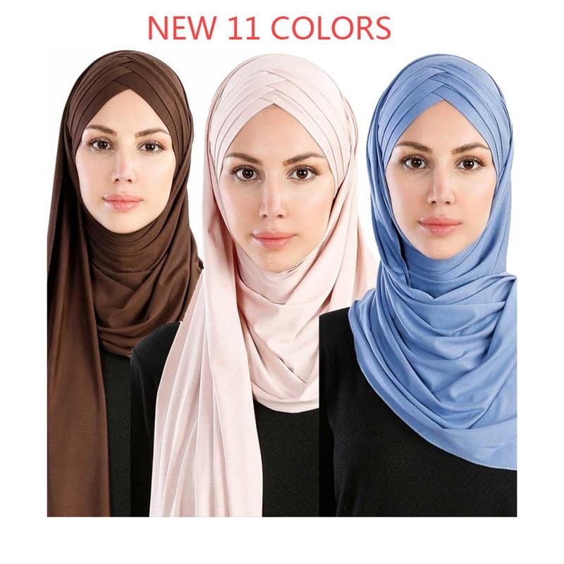2019 Women Plain Bubble Cotton Jersey Scarf Head Hijab Wrap Solid Instant Shawls Foulard Femme Muslim Hijabs Store Ready To Wear