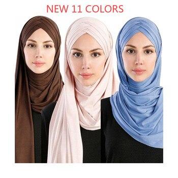 2019 women plain bubble cotton jersey scarf Head hijab wrap solid instant shawls foulard femme muslim hijabs store ready to wear - discount item  5% OFF Muslim Fashion
