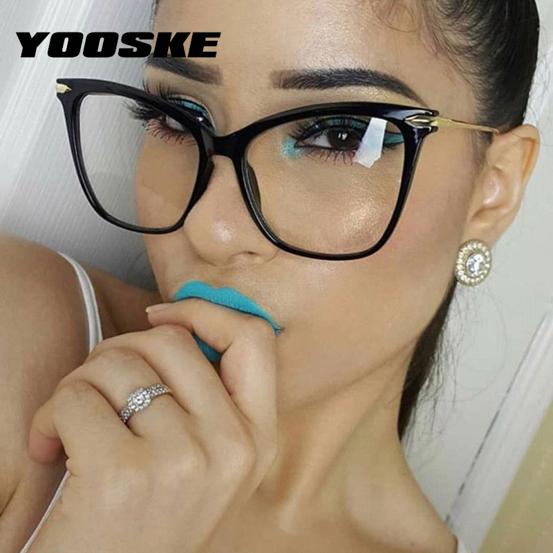 YOOSKE Cat Eye Glasses Frames Women Optical Eyeglasses Fashion Metal Frame Myopia Prescription Eyewear Computer Glasses