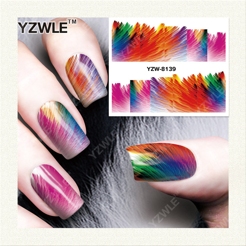 YZWLE 1 Sheet DIY Decals Nails Art Water Transfer Printing Stickers Accessories For Manicure Salon YZW-8139 yzwle 1 sheet hot gold 3d nail art stickers diy nail decorations decals foils wraps manicure styling tools yzw 6015