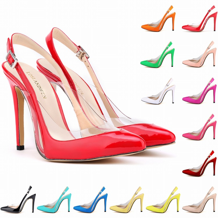 d8ca4fafeae 2017 New Summer Sandals European And American Pointed Toe Heels Sexy Patent  Leather Transparent Shoes Woman High Heel 14 Color-in Women s Pumps from  Shoes ...