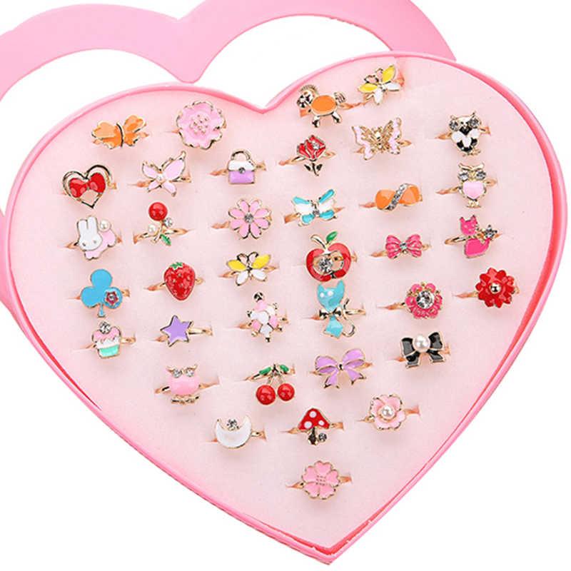 5pcs เด็กอินเทรนด์เด็กหวานน่ารักปรับการ์ตูนคริสตัลสัตว์เคลือบแหวนแฟชั่นเครื่องประดับสาวของขวัญแบบสุ่ม