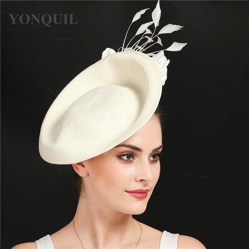 Бежевые свадебные аксессуары для волос Кентукки Дерби чародей головные уборы высокого качества имитация льняная Коктейльная шляпа с цветком SYF666 - Цвет: Слоновая кость