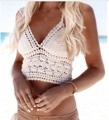 Summer Sexy crochet bikini Crop Tops Beachwear Hollow Out Bikini Bra Strap vest Hanging Halter Tank Vest women's cropped 4 color