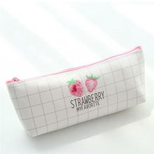 Cute Strawberry Print Women Cosmetic Bag Portable Zipper Travel Letter Makeup Bags Pouch Toiletry Organizer Holder