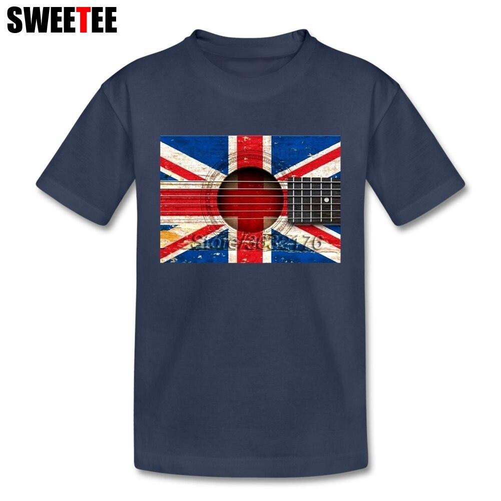 Tua Antik Gitar Akustik Inggris Bendera Kaus Anak Kaus Lengan Pendek Anak-anak Tim Kaus Atasan Pakaian untuk lelaki Perempuan-Internasional