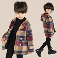 Autumn boy coat clothes grid toddlers lattice coat jacket lapel fashion long-sleeved single breasted children