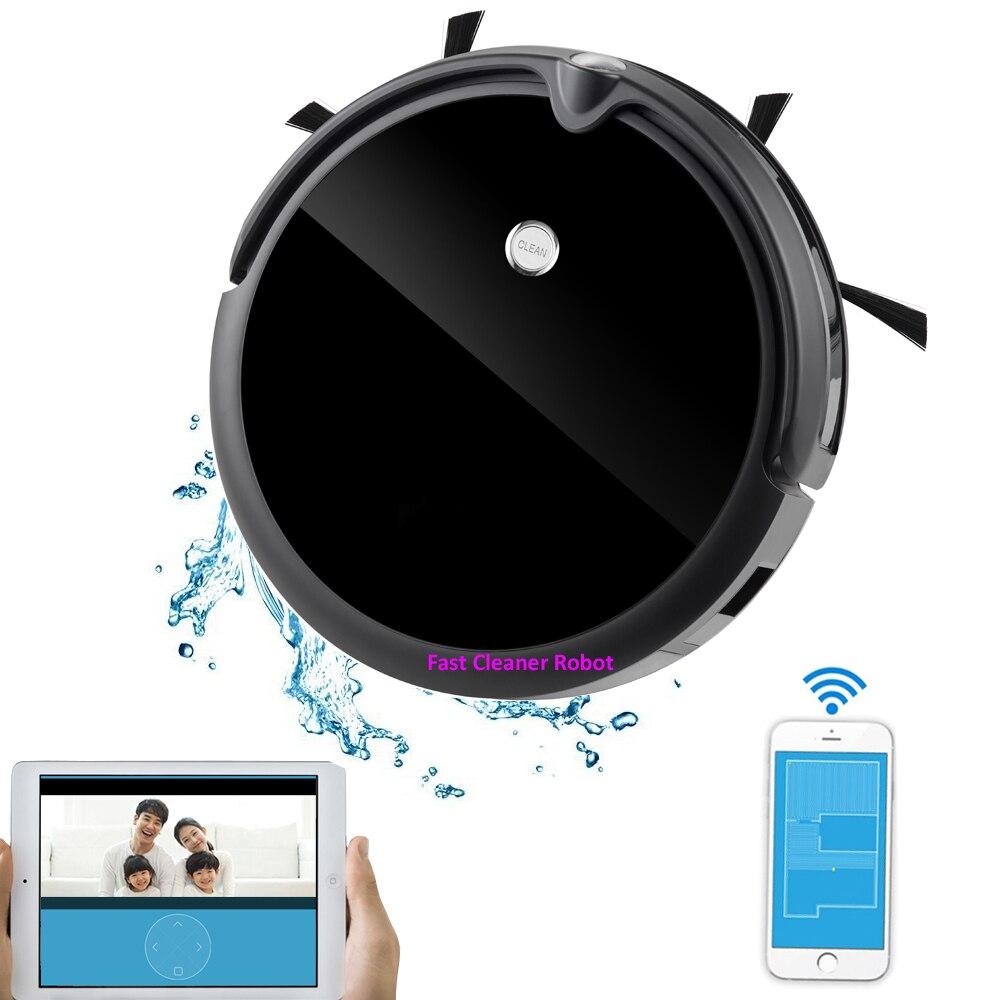 PIÙ NUOVO Wet And Dry Robot Aspirapolvere Con La Macchina Fotografica, Smart Giroscopio di Mappatura, Intelligente di Memoria, 350 ml Serbatoio di Acqua, Batteria Al Litio