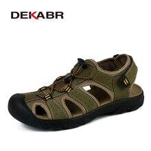 Dekabr couro genuíno sapatos de verão homens sandálias moda casual sapatos masculinos sandalias sapatos de praia solas suaves respirável