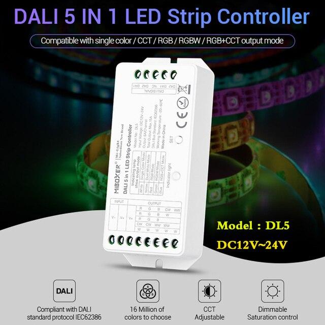 MiBOXER DL5 DALI 5 IN 1 LED di Controllo della Striscia, DC 12 ~ 24V Collegamento anodo Comune, telecomando compatibile/DALI Bus Potenza Supplly