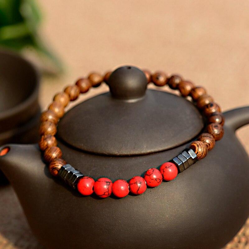 2019 Classic Women 6MM Natural Wood Beads Bracelet Men Ethnic Hematite Lava Stone Bracelet Homme Prayer Jewelry Yoga Bracelet 2